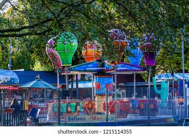 Warwick, Warwickshire, Midlands England UK, October 29th. 2018, Funfair in St Nicolas Park Warwick, on a sunny October afternoon.