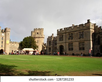 Warwick, West Midlands / United Kingdom - September 2011: Warwick Castle and Knight's Village, a historic building from the 11th century