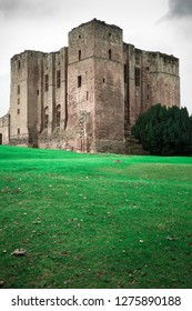 WARWICKSHIRE, ENGLAND - OCTOBER 11, 2014:  View of historic Medieval Castle ruins, Kenilworth in Warwickshire, United Kingdom