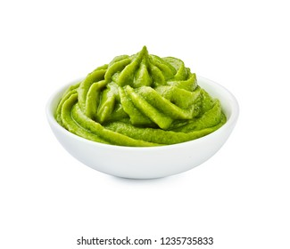 Wasabi in bowl isolated
