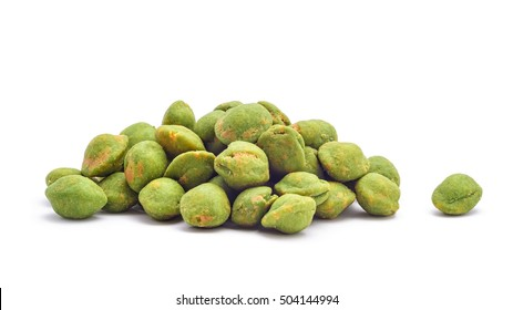 wasabi coated snack peanuts isolated