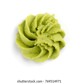 Wasabi on white background. Top view.