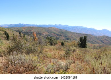 The Wasatch Mountains countryside in late summer near Big Mountain Pass in Morgan, Utah.