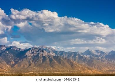 Wasatch Mountains range as viewed from Salt Lake City hills, Utah (United States).
