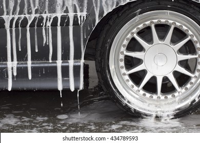 Wash a car  wheel
