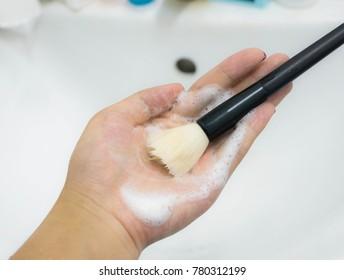 wash make up brush background