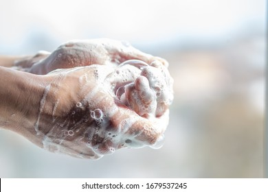 Wash your hands. Hands in soap with foam. Hand disinfection and treatment for coronavirus. Quarantine rules. After a walk you need to wash thoroughly. Hygiene rules. 30 seconds to wash hands