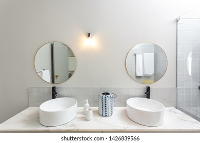 Washbasin and accessories in a modern toilet.