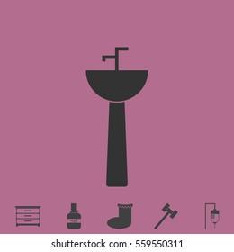 Washbasin icon flat. Simple grey pictogram and bonus symbol