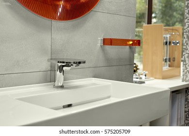 washbasin with mixer tap in a bathroom