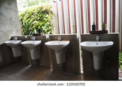 Washbasin in restroom forest interior design for cleaning and hygiene,concept GMP HACCP