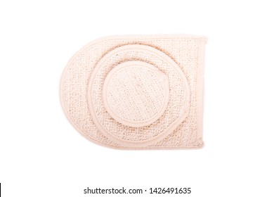 Washcloth of different size on white isolated background