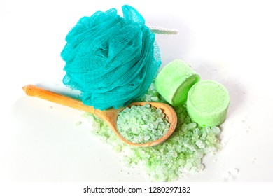 washcloth, sea salt for the bathroom and a wooden spoon - accessories for bath
