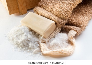 washcloth with white soap on white background