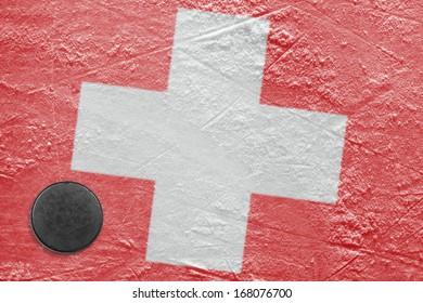 Washer and flag image Switzerland on a hockey rink