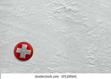 Washer with the image of the Swiss flag on a hockey rink