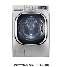 Washer Machine Isolated on White Background. Front View of Stainless Steel Steam Washer. Front Load Washing Machine with Electronic Control Panel. Clipping Path