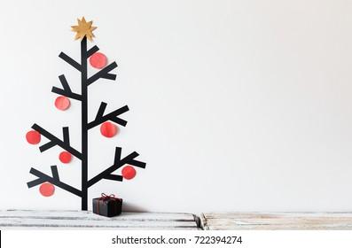 Washi tape christmas tree decoration and a gift box. Christmas concept. DIY.