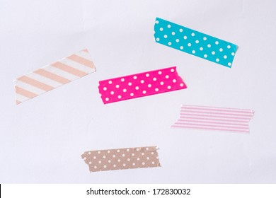 Washi tape, masking tape, Isolated, white background.