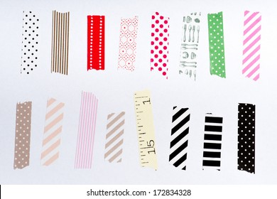 Washi tape, masking tape pieces, Isolated, white background.