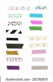 Washi tape, masking tape pieces, Isolated, white background.