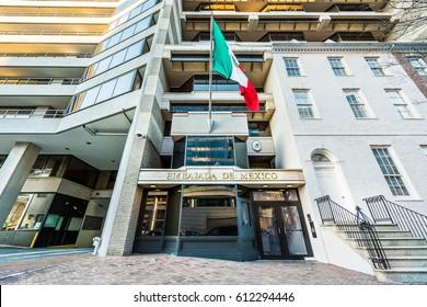 Washignton, DC, USA - March 4, 2017: Embassy of Mexico on Pennsylvania Avenue