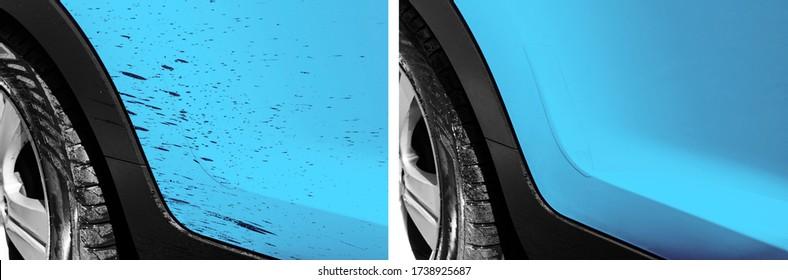 Washing car bitumen stain. Car wash service before and after washing. Cleaning maintenance. Half divided picture. Before and after effect. Washing blue vehicle at station. Car washing concept.