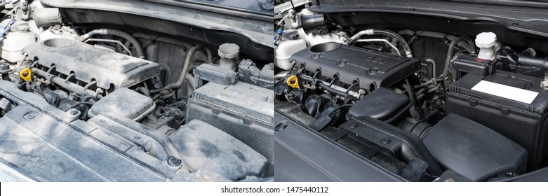Washing car engine. Car wash service before and after washing. Cleaning maintenance. Half divided picture. Before and after effect. Washing vehicle engine at the station. Car washing concept.