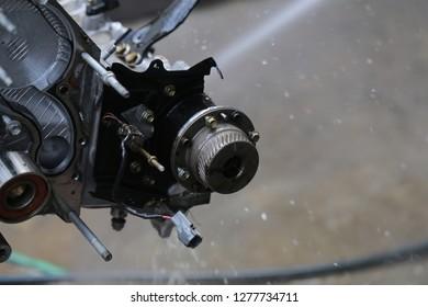 Washing car's engine