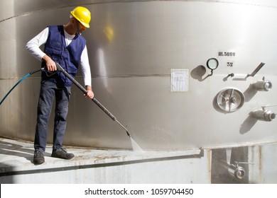 washing the cement platform