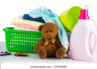 Washing clothes. Washing powder. Clothing Air Conditioning. baby clothes
