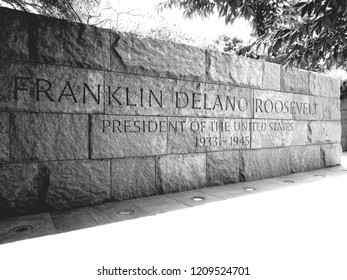 "Washing DC, Washington / United States - August 24th 2018: Franklin Delano Roosevelt memorial stone, reads ""FRANKLIN DELANO ROOSEVELT PRESIDENT OF THE UNITED STATES 1933-1945"""