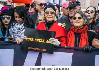 Washing DC, Washington/USA November 8, 2019 Environmental climate demonstration lead by Jane Fonda
