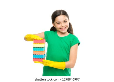 Washing the dishes is my job. Small housekeeper holding dish sponges in rubber gloves. Little housemaid ready for household help. Adorable kitchen maid. Household duties. Cleaning and washing up.