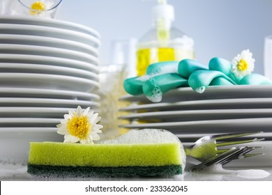 Washing glasses and plates with detergent and fresh flowers