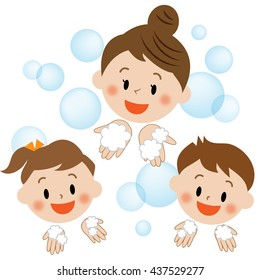 washing hands, mother and kids, smile, icon