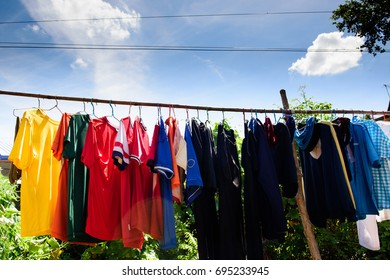 Washing hanging Exposed to outdoor sunlight