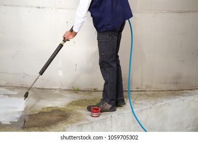 washing the industrial cement platform