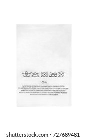 Washing instructions and fabric composition clothes label isolated over white