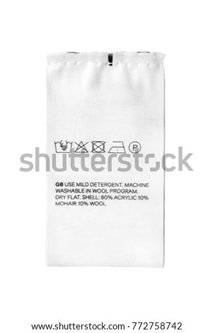 Washing Instructions Fabric Composition Textile Clothes Stock Photo