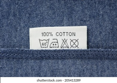 washing and laundry symbols label at the seam of clothes