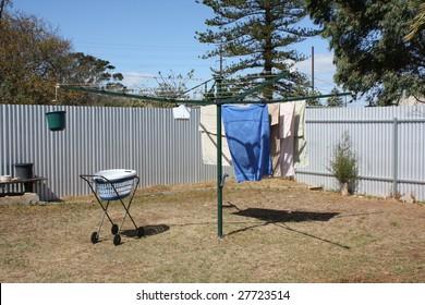 Washing line in backyard