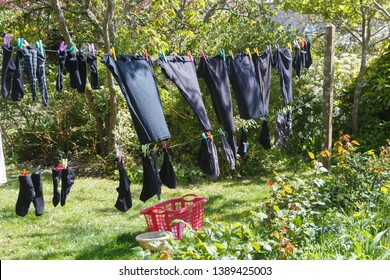 Washing line with clothes drying in a garden