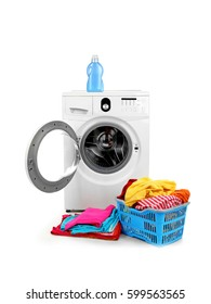 Washing machine and clothes on white background