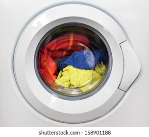 Washing machine with dirty clothes inside