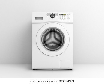 Washing machine front view on a white wall background 3d illustration