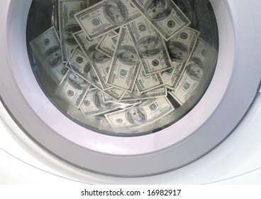 Washing machine full of 100-dollar bills money laundering concept