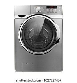 Washing Machine Isolated on White Background. Front View of Stainless Steel Front-Load Washer Machine. Modern Washing Machine with Electronic Control Panel. Domestic Appliances. Household Appliances