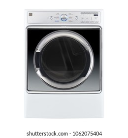 Washing Machine Isolated on White Background. Front View of Modern Front Load White Washer with Electronic Control Panel. Domestic and Household Appliance