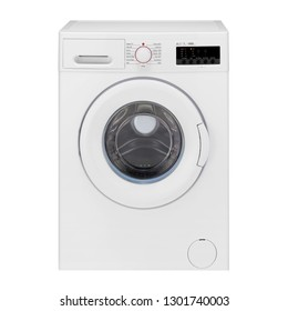 Washing Machine Isolated on White. Modern White Slim Depth Front Load 7kg 1400 Spin Speed Washer with Electronic Control Panel A+++ Energy Efficiency. Household and Domestic Appliance. Home Innovation